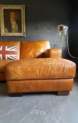 920 Chesterfield Vintage Cuir 3 Places Beige Club Club Corner Suite D'angle Courier Av