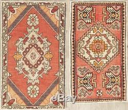 Affaire De 2 Vintage Turque Oushak Oriental Tapis Main Noueuse Cuisine Tapis 2'x3