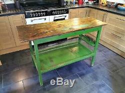 Annoncé Vintage Cuisine Rustique Island / Table Haute / Banc De Travail Des Années 60 Retro Années 50