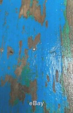 Antique Vintage Indian Étagère En Bois. Art Deco Turquoise