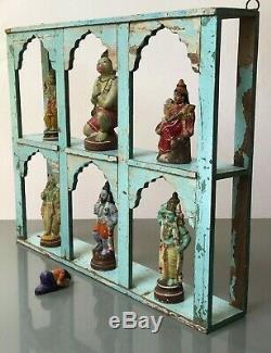 Antique Vintage Meubles Indiens. Arche Mughal Unité D'affichage. Distressed Bleu Bébé