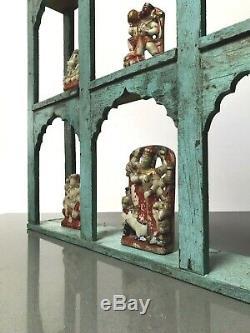 Antique Vintage Meubles Indiens. Mughal Arc Unité D'affichage. Distressed Turquoise
