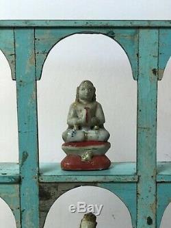 Antique / Vintage Meubles Indiens. Teck Display Unit Cintrées. Blue & Champignons Bébé