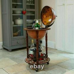 Areeva Small Globe Shaped Drinks Cabinet Mini Bar Trolley Vintage Retro Alcool