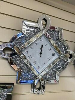 Argent Diamants Concassés Horloge Murale Bling Styliste Moderne Italienne