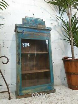 Armoire Antique De Cuisine De Salle De Bains D'affichage En Bois Bleu Indien Antique