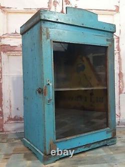 Armoire Antique De Mur De Cuisine Indienne En Bois Bleu D'affichage De Cru Antique