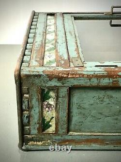 Armoire De Cuisine Antique Antique D'exposition Indienne D'art Déco De Salle De Bains. Sarcelle Et Teck