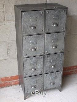 Armoire Industrielle En Métal Gris De 8 Tiroirs Distressed Vintage Storage Autoportant
