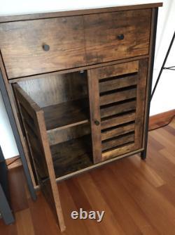 Armoire Latérale Industrielle Vintage Buffet De Rangement 2 Portes Coffre-fort Rustique