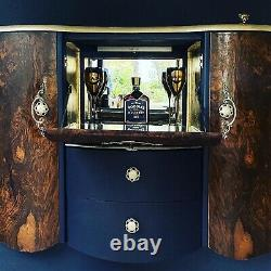 Art Déco/vintage/retro/drinks/cocktail Cabinet/bar/blue/wood/upcycled/ Élégant