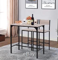 Bar Industriel Table Petit Espace Économie Cuisine Compact 2 Tabourets Hauts