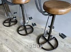 Bar Vintage Retro Tabouret Avec Pédale Vélo Dossier Cuir Véritable Cuisine Bar Pub