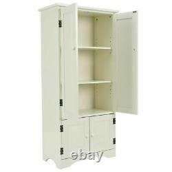 Blanc Cabinet Pantry Cuisine Vintage Meuble De Rangement Rangement Des Étagères En Bois