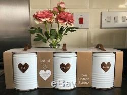 Blanc Rétro Émail Thé Café Sucre Bidons Jars Set Copper Heart Jars