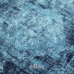 Bleu Marine Classique De Style Vintage Petits Tapis Oriental Faded Médaillon Tapis Design