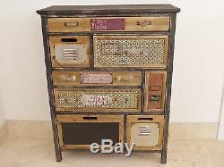 Bois Antique Vintage Rustique Boho Patterned Commode Cabinet