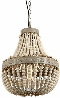 Bois Perle Lustre Pendentif Plafonnier Gris Blanc Finition Vintage Rustique