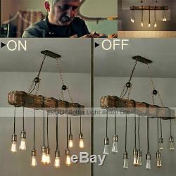 Bois Poutre 10 Lumières Antique Ferme Île Hanging Pendant Light Lustre