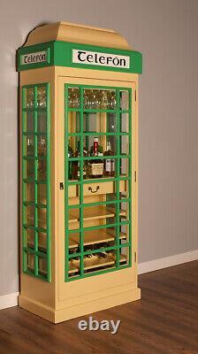 Boissons Cabinet Iconic Irish Bar Téléphone Boîte De Style En Ivoire Et Vert
