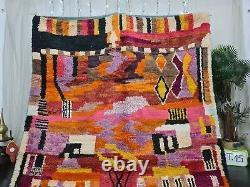 Boujad Fait Main Marocain Vintage Rug 6'3x9'8 Résumé Orange Rose Berber Tapis
