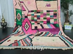 Boujad Handmade Moroccan Vintage Rug 5'5x8'9 Pink Abstract Berber Wool Carpet