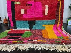 Boujad Rug Vintage Marocain Fait Main 5'5x8'6 Résumé Tapis Berbère Rose Rouge
