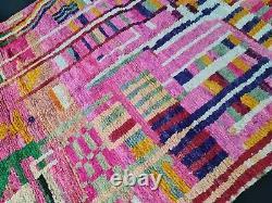 Boujad Rug Vintage Marocain Fait Main 6'3x9'7 Résumé Tapis Berbère Vert Rose