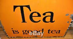 Brooke Bond Tea Années 1940 Signe Émail Publicitaire Garage Cuisine Vintage Rétro Antiq