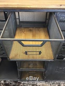 Buffet Industriel Vintage Rétro En Métal Noir, Armoire À 16 Tiroirs, Rangement