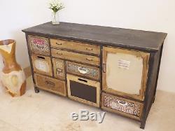 Buffet Peint Vintage Multi Couleur Retro Style Stockage Poitrine Console 108cm