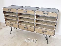 Buffet Retro Urban Vintage Industriel 15 Tiroirs Commode 150cm