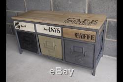 Buffet Vintage Industriel Peint, Console De Rangement, Style Multi, Style Rétro