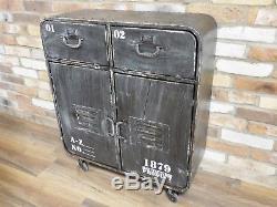 Cabinet D'affichage Vintage De Stockage De Chevet Industriel De Coffre De Tiroirs