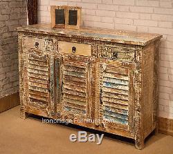 Cabinet De 3 Portes À 3 Tiroirs Peint À La Décoration Vintage Buffet À Meuble En Bois Massif -4