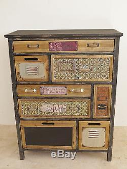 Cabinet En Bois Coloré Rustique 8 Tiroir De Rangement Plaques De Texte Vintage