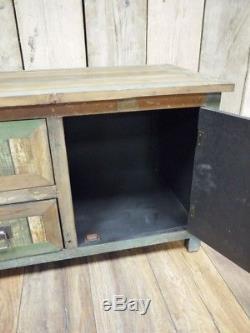 Cabinet En Bois Rustique 2 Tiroir 1 Porte Armoire De Rangement Organisateur Meubles Unité
