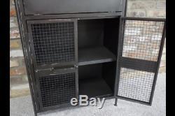 Cabinet Industriel Gris Métal 2 Portes Vintage Armoire De Stockage Table D'appoint Unité