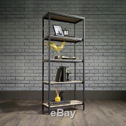 Cadre En Acier Noir De Bibliothèque D'étagère De Style Industriel 4 Avec Des Étagères D'effet De Chêne