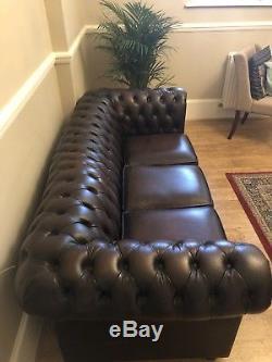 Canapé Antique En Cuir Chesterfield Antique 3 Places