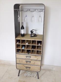 Casier À Vin Vintage Rétro Industriel Avec 3 Tiroirs 15 Bouteille De Vin Magasin Urbain