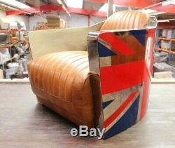 Chaise De Baignoire Fusée Union Jack Aviator Aviation Art Déco, Cuir Brexit Vintage