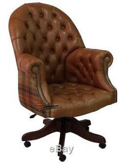 Chaise De Bureau Pivotante De Directeurs Chesterfield, Cuir Brun Foncé + Laine Caramel