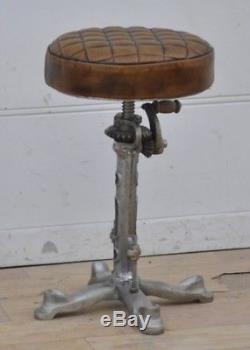 Chaise De Cuisine Réglable Vintage En Cuir Vintage