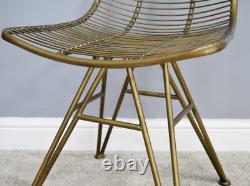 Chaise De Salle À Manger Industrielle Vintage Retro Seat Wire Rustic Or Bureau De Cuisine En Métal
