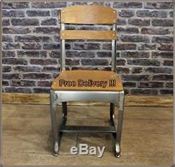 Chaise Vintage Set 2 Sièges À Manger Rétro Salon Gris Jardin Design Industriel