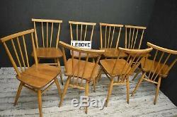 Chaises Ercol X 8 Blonde Vintage Modèle 391