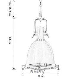 Clement Chrome Industriel Retro Pendentif Cuisine Couloir Lumière 36cm My-furniture