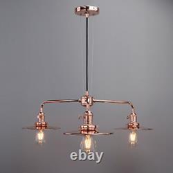 Cluster 3 Light Ceiling Pendant Vintage Industrial Bar Metal Copper Lamp Fixture