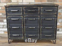 Coffre Antique Industriel D'unité De Buffet De Buffet De Cabinet De 12 Tiroirs Y